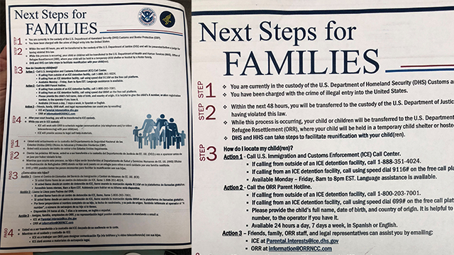 (Customs and Border Protection) This is a document given to immigrants who are arrested and separated from their children at the US-Mexico border.