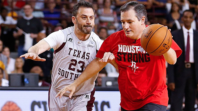 Senator Ted Cruz dribbles past Jimmy Kimmel during the Blobfish Basketball Classic and one-on-one interview at Texas Southern University's Health & Physical Education Arena Saturday, June 16, 2018 in Houston. (Michael Ciaglo via Associated Press)