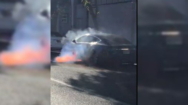 Actor Mary McCormack shared this video of her husband's Tesla on fire. (@marycmccormack via Twitter)