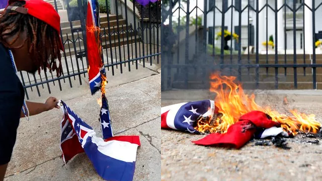 (AP Photo/Rogelio V. Solis). Remnants of a Mississippi state flag burn in front of the Governor's Mansion after members of the Mississippi Poor People's Campaign burned it and a Confederate battle flag in protest in Jackson, Miss., Monday, June 18, 201...