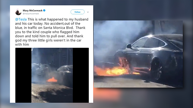 A Tesla Model S being driven by the husband of actor Mary McCormack caught fire on a Los Angeles last week, McCormack tweeted Friday night. (Mary McCormack/Twitter/CNN)