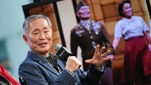 "Actor George Takei participate in AOL's BUILD Speaker Series to discuss the Broadway musical ""Allegiance"" at AOL Studios on Thursday, Dec. 3, 2015, in New York. (Photo by Evan Agostini/Invision/AP)"