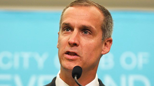 This Aug. 3, 2017 file photo shows Corey Lewandowski, former campaign manager for President Donald Trump, speaking at the City Club of Cleveland, in Cleveland. (AP Photo/Dake Kang, File)
