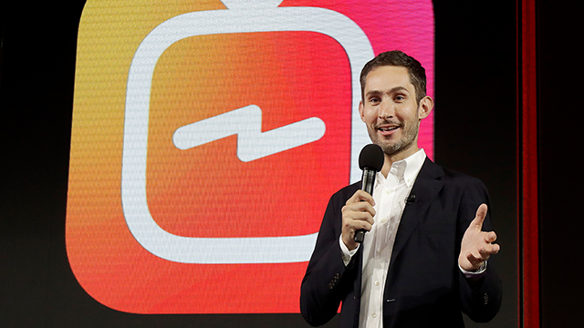 In this Tuesday, June 19, 2018, photo Kevin Systrom, CEO and co-founder of Instagram, prepares for Wednesday's announcement about IGTV in San Francisco. (AP Photo/Jeff Chiu)