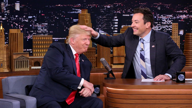 "President Trump blasted Jimmy Fallon for apology over playful ""Tonight Show"" sitdown in September 2016, claiming the host bragged of show's ratings, and that he also ""seriously messed up"" his hair. (Andrew Lipovsky / AP)"