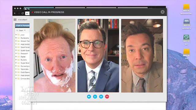 Stephen Colbert, Jimmy Fallon and Conan O'Brien teamed up on Tuesday night to take some shots at President Donald Trump. (CNN via CBS)
