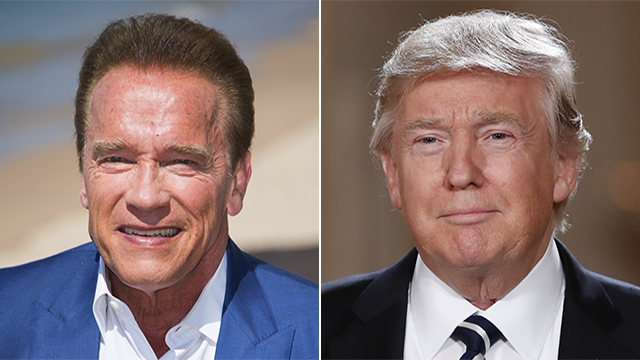 This combo photo shows Arnold Schwarzenegger and President Donald Trump. (AP)