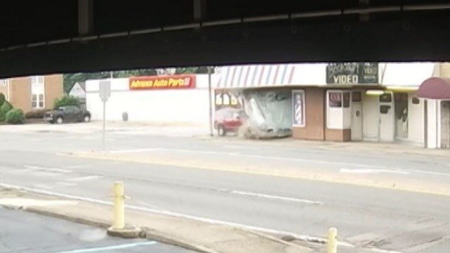 An SUV slams into a barber shop in West Virginia. (CNN/WOWK/State of West Virginia)