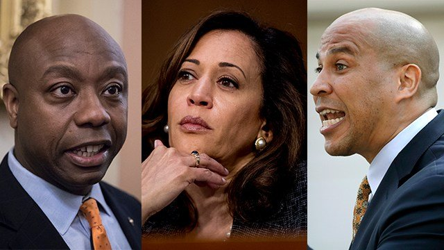 From left to right: Sen. Tim Scott, R-SC (AP Photo/J. Scott Applewhite), Sen. Kamala Harris, D-CA (AP Photo/Andrew Harnik), and Sen. Cory Booker, D-NJ  (AP Photo/Julio Cortez) have introduced a bill that would make lynching a federal hate crime.