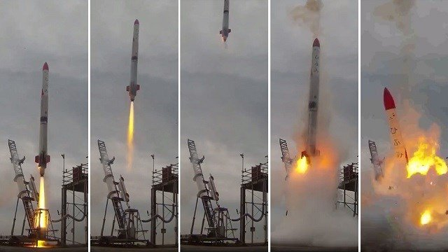 This combo of video grabs provided by Interstellars Technologies shows the failed launch of the rocket MOMO-2 in Taiki, Kokkaido prefecture, on June 30, 2018. (JIJI PRESS/AFP/Getty Images)