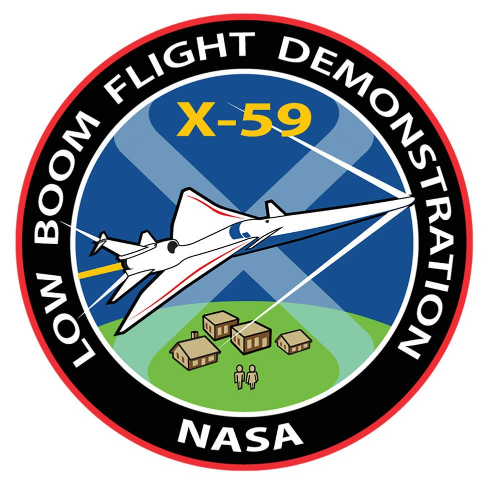 The X-59 designation has been added to the graphic for the Low-Boom Flight Demonstration mission, which depicts the two key aspects of the effort – the X-plane and the community overflight campaigns it will later fly. (NASA / David Faust)