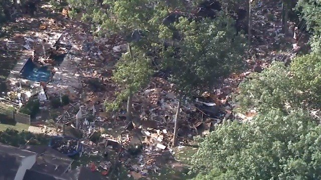 Helicopter footage shows the site of a house explosion in New Jersey. (WPVI via CNN Wire)