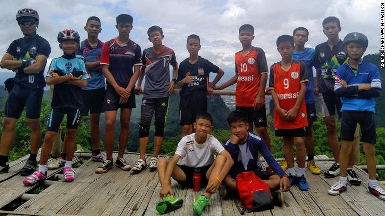 This undated photo shows a youth soccer team and their coach, who were all rescued from a flooded cave in Thailand following an 18-day ordeal. (Akkapol Chanthawong, Facebook)