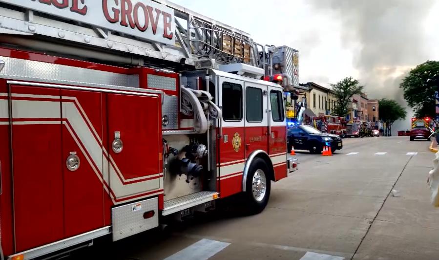 Emergency crews respond to a massive fire in Sun Prairie, Wis., Tuesday, July 10, 2018. (WMTV via CNN)