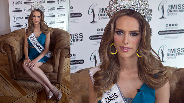 In this photo taken on Tuesday, July 10, 2018, Angela Ponce, who won Spain's Miss Universe competition in June, speaks during an interview with The Associated Press in Madrid, Spain. (AP Photo/Paul White)