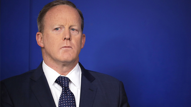 Sean Spicer's book is hitting shelves later this month, and those who want to attend the opening launch party should be prepared to shell out some money. (Chip Somodevilla/Getty Images via CNN)