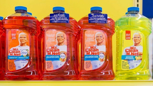 Mr Clean bottles stacked in a shelf. Mr Clean products are among the best cleaning products out in the market and are enjoyed by many for its smell. (Photo by Roberto Machado Noa/LightRocket via Getty Images)