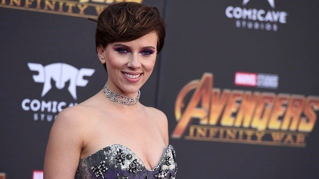 """Scarlett Johansson arrives at the world premiere of """"Avengers: Infinity War"""" on Monday, April 23, 2018, in Los Angeles. (Photo by Jordan Strauss/Invision/AP)"""