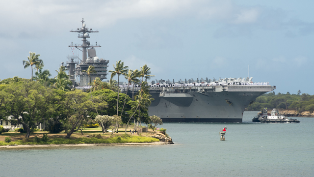 A Chinese spy ship is currently spying on a major US-led military exercise off the coast of Hawaii, the same exercise it was disinvited from due to US opposition to Beijing's militarization of features in the South China Sea.(Jason Isaacs/US Navy via CNN)