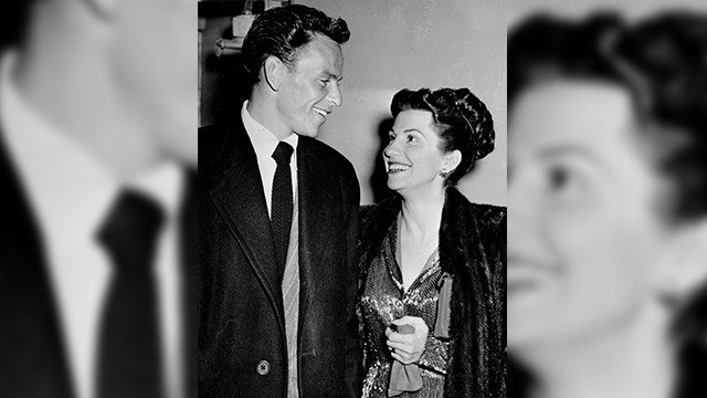In this Oct. 23, 1946 file photo, singer Frank Sinatra and his wife Nancy smile as they leave a Hollywood night club. Nancy Sinatra Sr., the first of Frank's four wives and the mother of his three children, has died. (AP Photo/File)