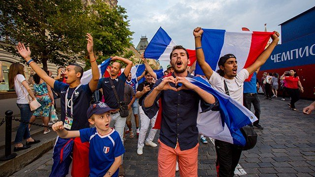 French fans gather at the Red square one day before the FIFA World Cup final match between Croatia and France on July 14, 2018 in Moscow, Russia. (Vladimir Artev/Epsilon/Getty Images)