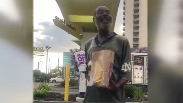 """Maurice Hill, who is homeless in Houston, is going viral after singing """"Happy Birthday"""" to a woman who gave him food. (KTRK via CNN Wire)"""
