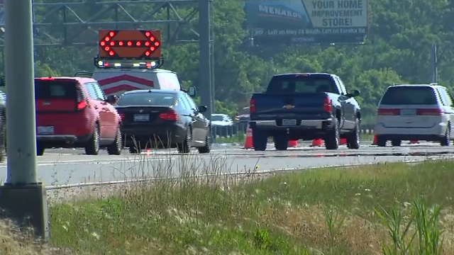 This image shows I-94 near Detroit Metropolitan Airport. Police said a 7-year-old Michigan girl survived her father's drunken crash, only to be killed by an oncoming car while trying to get help. (WXYZ via CNN)