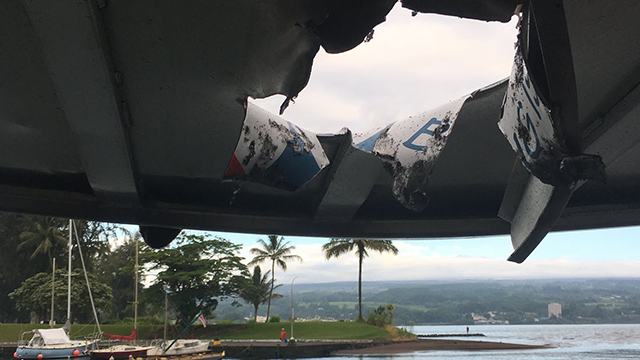 At least 13 people on a Hawaiian Lava Boat Tours vessel were injured this morning after an explosion sent lava through the roof of the boat's passenger cabin. Officers from the DLNR. (Hawaii Department of Land and Natural Resources)