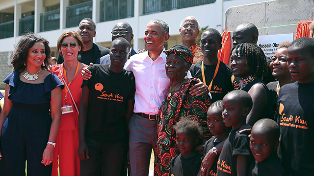 Former President Obama in ancestral home Kenya to launch sister's project