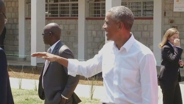 Obama visits ancestral village in Kenya