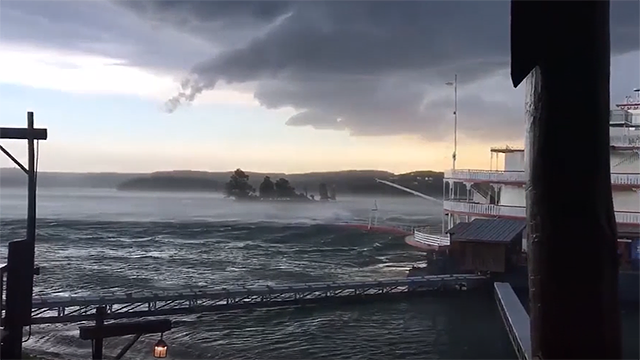 Several people are dead after a tourist boat overturned and sank in a lake near Branson, Missouri, during a thunderstorm. (Courtesy of Tony Burkhart via CNN)