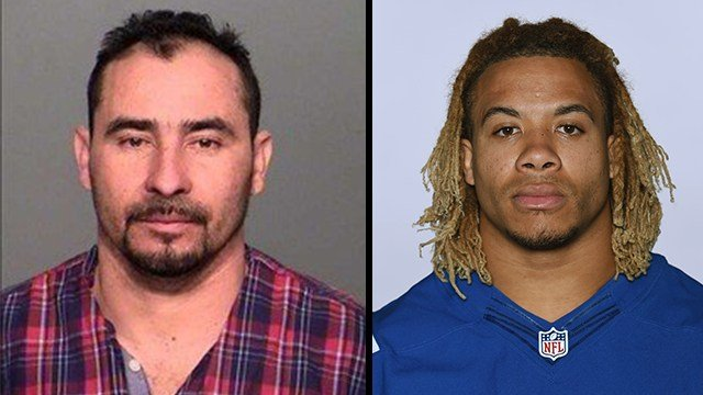 Manuel Orrego-Savala, left (Indiana State Police via CNN Wire) pleaded guilty in the death of NFL linebacker Edwin Jackson, right, who is shown pictured here on the 2016 Colt's roster. (AP Photo)