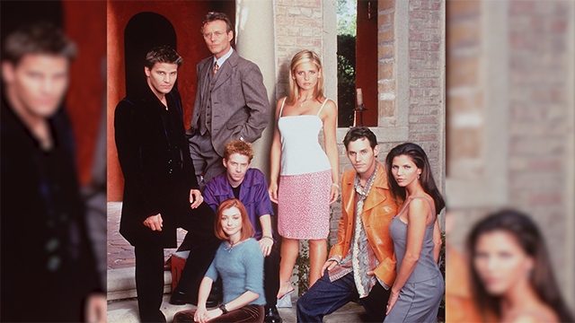 Sara Michelle Gellar,David Boreanaz, Nicholas Brendon, Alyson Hannigan, Charisma Carpenter, Anthony Stewart Head, Seth Green Star In 'Buffy The Vampire Slayer..' (Photo By Getty Images)