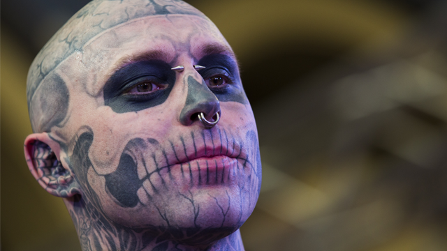 LONDON, ENGLAND - MAY 24: Zombie Boy attends The Great British Tattoo Show at Alexandra Palace on May 24, 2014 in London, England. (Photo by Tristan Fewings/Getty Images for Alexandra Palace)