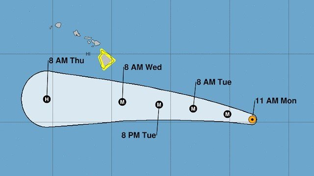 The Hawaiian Islands were placed on alert as Hector inched toward the central Pacific with maximum sustained winds of 125 mph. (NOAA)