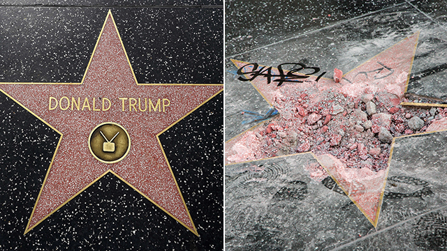This before and after picture shows the damage to President Trump's Hollywood Walk of Fame star, which was destroyed with a pickax on July 25, 2018. (Getty Images)