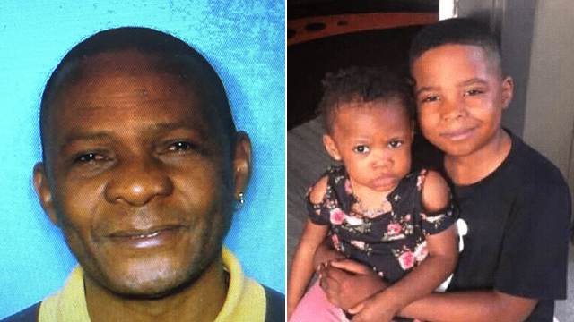 This combo photo shows Jean Pierre Ndossoka (left) and his two children, Marcel and Anna-Belle Faith. (Houston Police, KTRK via CNN)