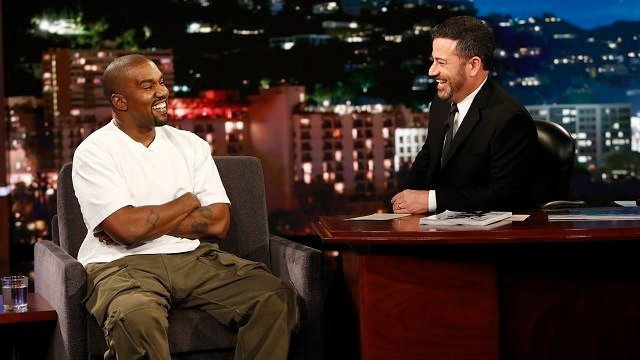 """Kanye west, left, and host Jimmy Kimmel appear on the set of """"Jimmy Kimmel Live!"""" in Los Angeles. West appeared on Thursday, Aug. 10, 2018 and discussed his support for Trump. (Randy Holmes/ABC via AP)"""