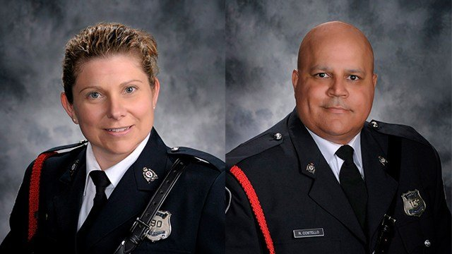 A shooting in a small Canadian city Friday, Aug. 10, 2018 left four people dead, including police officers Sara Burns (left) and Robb Costello (right), who were responding to a call of shots fired. (Fredericton Police Force via AP)