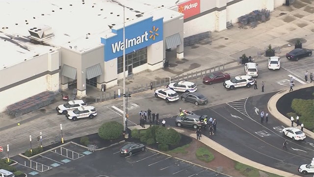 Police respond to a shooting at a Walmart near Philadelphia on Tuesday, Aug. 14, 2018. (WPIV via CNN)