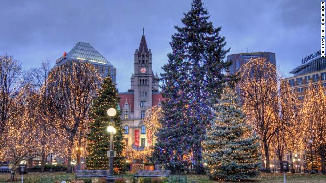 Rice Park, located in downtown St. Paul, Minnesota, gets gussied up for the Christmas holidays.