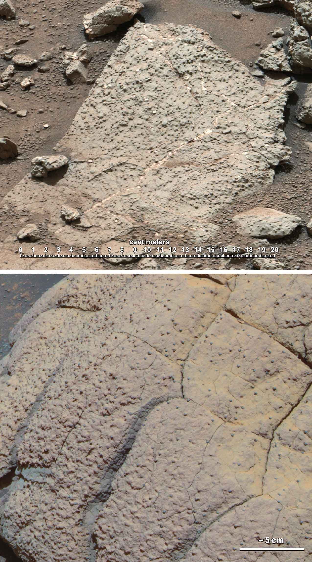 This set of images compares rocks seen by NASA's Opportunity rover and Curiosity rover at two different parts of Mars. (Source: CNN Wire)