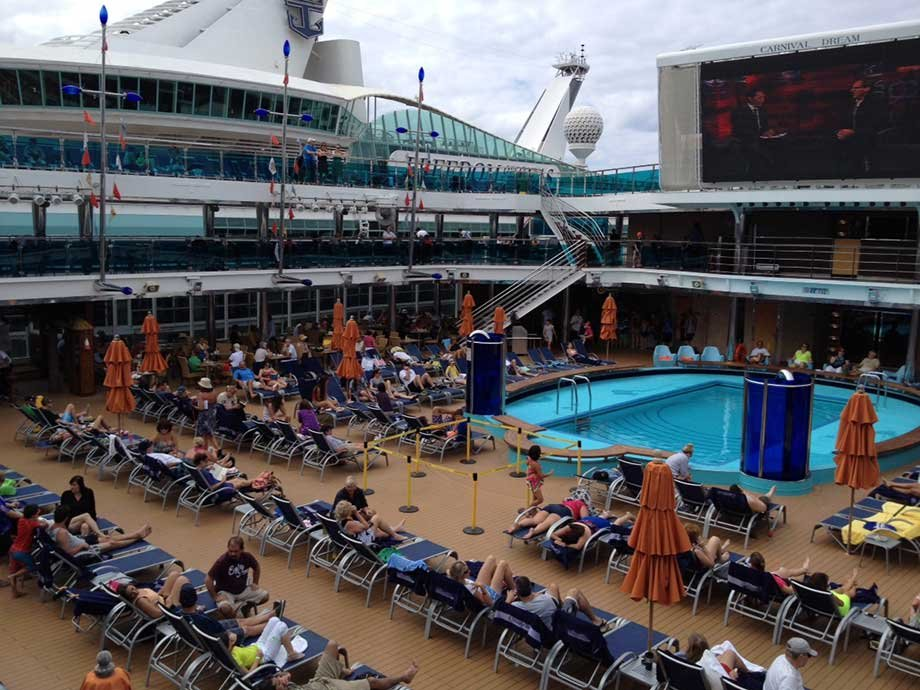 The Carnival Dream pool area in on the Lido Deck includes a large video screen. (Source: Kris Anderson/WREG)