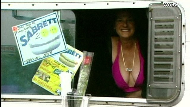 "New York's infamous ""Hot Dog Hooker"" allegedly tried to serve up the full works to one customer, but she didn't know the customer was an undercover detective and is now facing a prostitution case, police said."