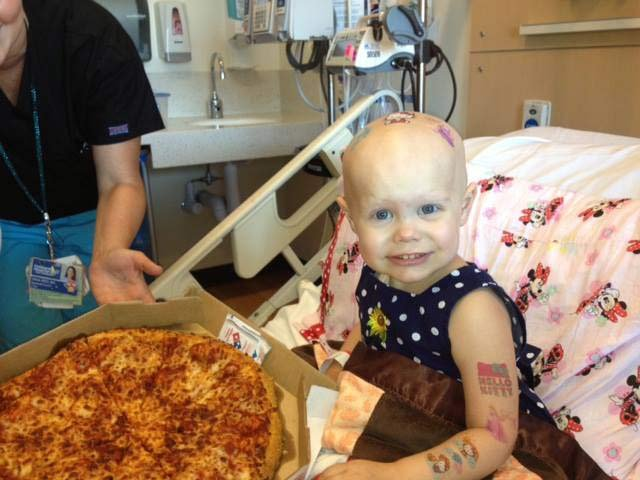 Hazel Hammersley, a 2-year-old battling cancer, had as much pizza as she could handle.