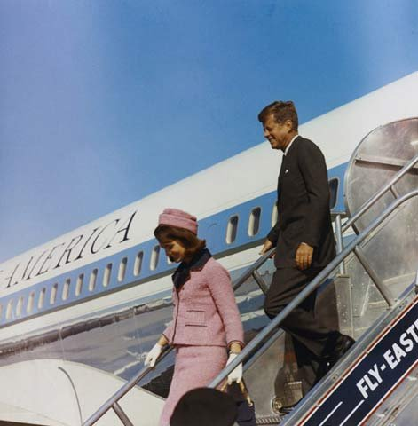 First lady Jacqueline Kennedy and the president exit SAM 26000 in Texas in November 1963, just hours before the president would be assassinated.