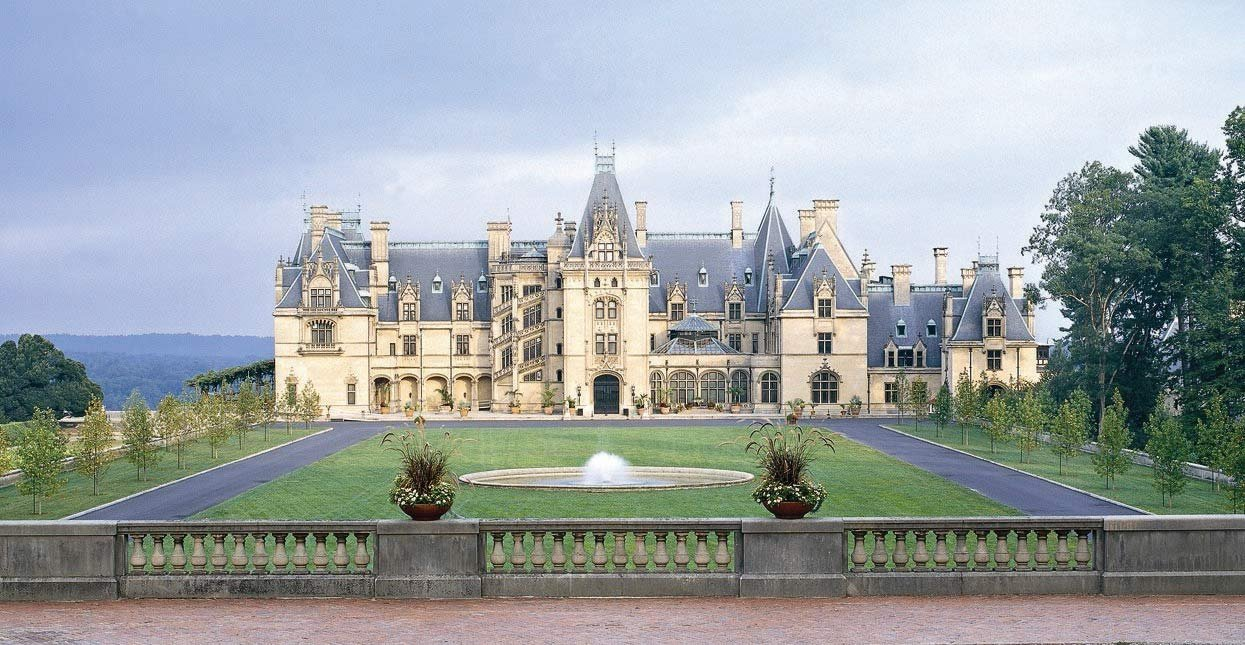 The Biltmore House in Asheville, North Carolina was constructed over a six-year period for George Vanderbilt and officially opened in 1895.