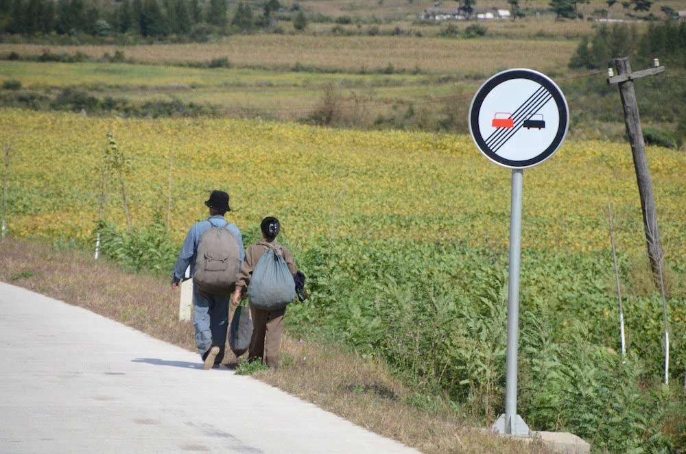 A woman and a man walking by the side of the road lined with cornfields. (All photos Johan Nylander/CNN)