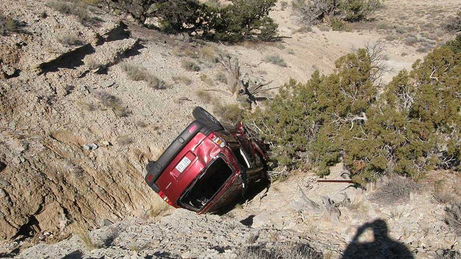 This Oct. 18, 2013, photo released by the Utah Highway Patrol shows a vehicle in a ravine where David Welch was found on Oct. 18, 2013 in eastern Utah.