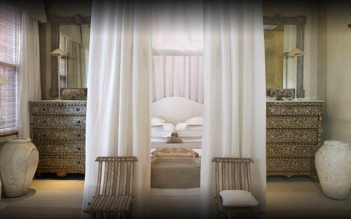 "The Corfu Suite at the Blakes Hotel in London won the judges' vote for the sexiest hotel room for its white drapes, mother-of-pearl accents and a four-poster bed ""you can't leave."" Do you agree with the judges?"
